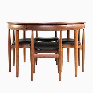 Tavolo da pranzo in teak e sedie di Hans Olsen per Frem Røjle, Danimarca, anni '60, set di 5