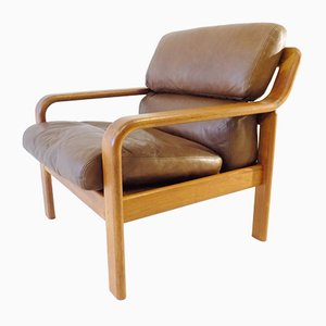 Danish Teak and Leather Lounge Chair from L. Olsen & Son, 1960s