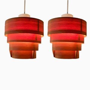Swedish Elysett Pine Ceiling Lamps by Hans Agne Jakobsson, 1960s, Set of 2