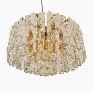 Lámpara de araña austriaca de cristal de hielo de JT Kalmar para Franken KG, años 60