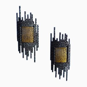 Brutalist Sculptural Sconces by Marcello Fantoni, 1960s, Set of 2