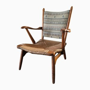 Vintage Dutch Walnut Lounge Chair from De Ster Gelderland, 1950s