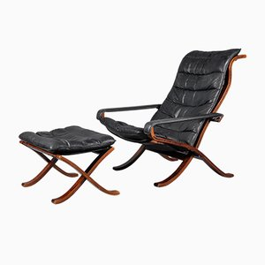 Mid-Century Flex Lounge Chair and Ottoman by Ingmar Relling for Westnofa, Set of 2