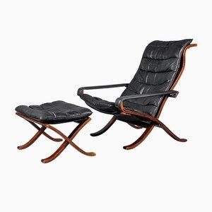Mid-Century Flex Sessel & Fußhocker von Ingmar Relling für Westnofa, 2er Set