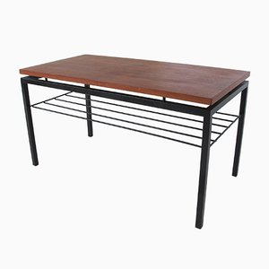 Tavolino Mid-Century in teak e acciaio di Cees Braakman per Pastoe, anni '50