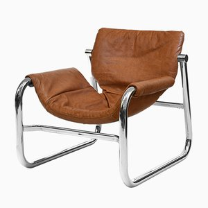 Leather and Chrome Lounge Chair by Maurice Burke, 1970s