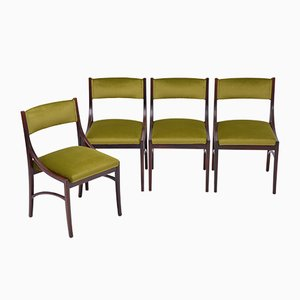 Rosewood and Green Velvet Model 110 Dining Chairs by Ico Luisa Parisi for Cassina, 1960s, Set of 4