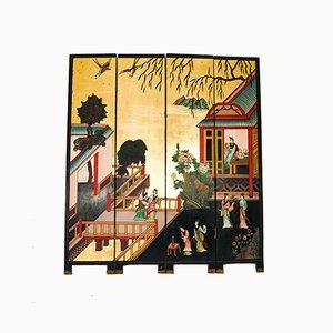 Biombo japonés con cuatro paneles, años 50