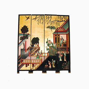 Japanese Four Panel Room Divider, 1950s