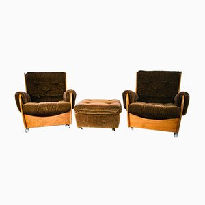 Armchairs and Footstool by V B Wilkins for G Plan, 1960s, Set of 3