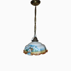 Antique Glass and Brass Pendant Lamp