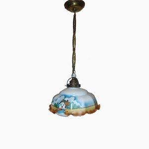 Lampe à Suspension Antique en Verre et Laiton