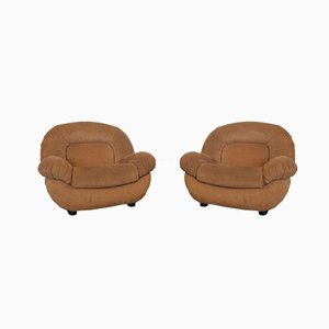 Suede Armchairs, 1980s, Set of 2