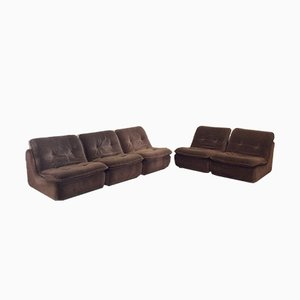 Striped Brown Velvet Modular Sofa, 1970s, Set of 5