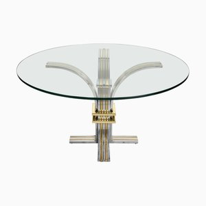Vintage Brass and Chromed Steel Dining Table from Banci Firenze, 1970s