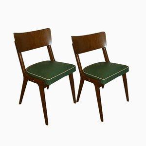Mid-Century Esszimmerstühle mit grünen Bezügen, 2er Set