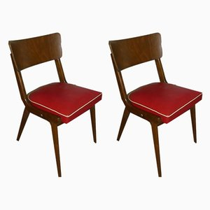 Mid-Century Red Dining Chairs, Set of 2
