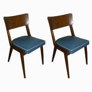 Mid-Century Blue Dining Chairs, Set of 2