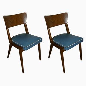 Mid-Century Esszimmerstühle mit blauen Bezügen, 2er Set