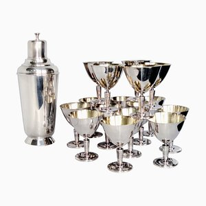 Vintage Cocktail Shaker and Martini Goblets from C.G. Hallberg, Set of 17