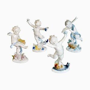 Figuras alemanas de porcelana de Metzler & Ortloff, años 50. Juego de 4