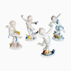 German Porcelain Figurines from Metzler & Ortloff, 1950s, Set of 4