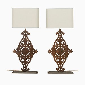 Large 19th Century Balustrade Table Lamps, Set of 2