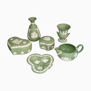 Jasperware Cream on Celadon Collection Tableware from Wedgwood, 1960s, Set of 6