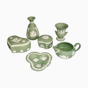 Service à Vaisselle en Céramique Diaprée Crème et Vert Céladon de Wedgwood, 1960s, Set de 6