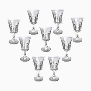 Copas de vino Porto de cristal de Baccarat, años 50. Juego de 9
