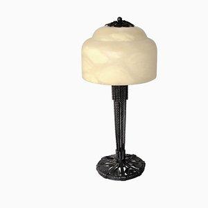 Art Déco Tischlampe aus Schmiedeeisen mit Ginko Blätter-Dekor von Edgar Brandt, 1930er