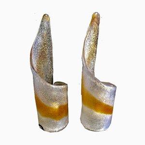 Lámparas de mesa de vidrio ámbar de Mazzega, años 70. Juego de 2