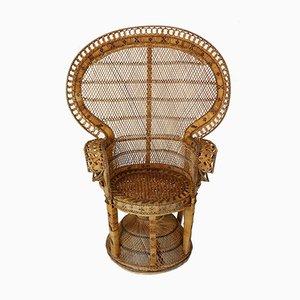 Wicker Peacock Lounge Chair, 1970s