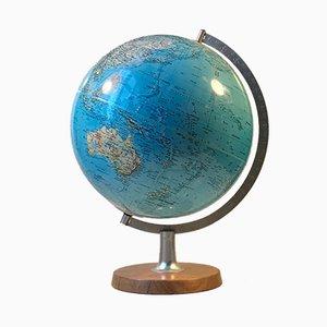 Lámpara de mesa Globus danesa de acero, teca y poliresina de Scan-Globe, años 70