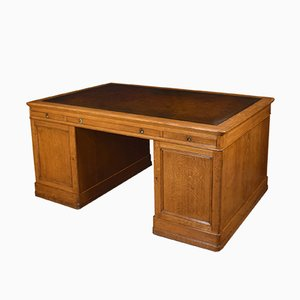 Large Antique Oak Library Desk