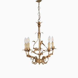 Golden Metal Ceiling Lamp, 1950s