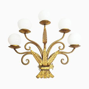Apliques estilo Art Nouveau de metal dorado, años 30. Juego de 2