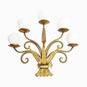 Applique in stile Art Nouveau in metallo dorato, anni '30, set di 2