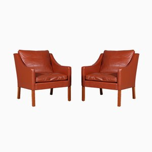 Tan Leather Model 2207 Lounge Chairs by Børge Mogensen for Fredericia, 1960s, Set of 2