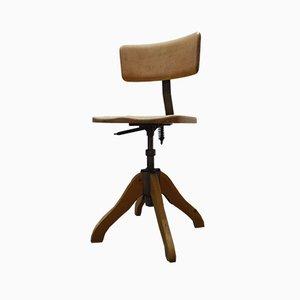 Silla de escritorio de madera y metal, años 50