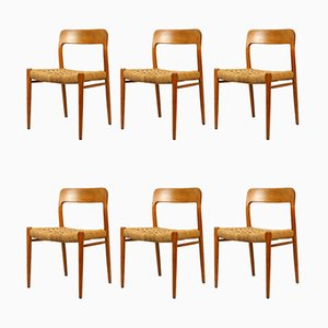 Oak and Cord Model 75 Dining Chairs by Niels Otto Møller, 1960s, Set of 6