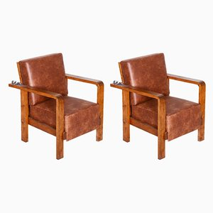Leather and Oak Armchairs, 1930s, Set of 2