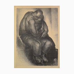 Vintage Couple in Embrace Lithograph by Anto Carte