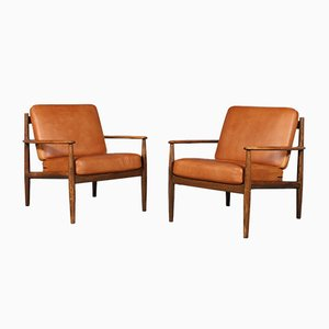 Stained Oak Lounge Chairs by Grete Jalk for France & Søn / France & Daverkosen, 1960s, Set of 2