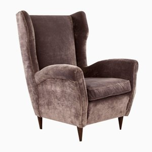 Gray Velvet & Wood Armchair, 1950s