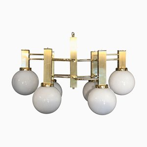 Brass and Glass Ceiling Lamp by Gaetano Sciolari, 1970s