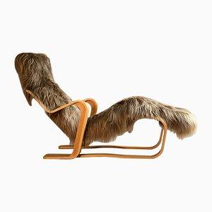 Chaise longue Bauhaus in pelle di pecora di Marcel Breuer per Isokon, anni '70