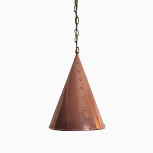 Danish Copper Pendant Lamp from Th. Valentiner, 1970s