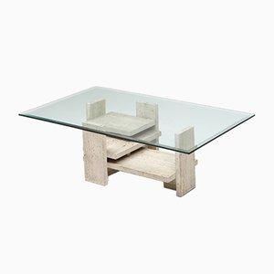 Table Basse Postmoderne en Travertin, France, années 70