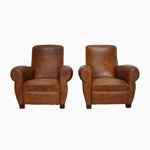 Vintage French Leather Club Chairs, Set of 2